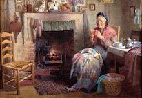 """""""Cottage Scene"""" by Edward Henry Spernon Tozer (English, 1864-1955)"""