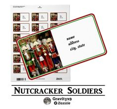 Christmas Gift or Address label - Christmas Nutcracker Soldiers Labels for the Holidays   by #I_Love_Xmas at Zazzle! #Gravityx9 Designs ~ Add your address , greetings or use as a gift tag!