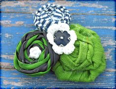 Green & White & Navy Fabric Bows - Recruitment Nametags