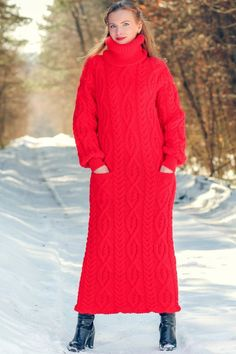 SUPERTANYA RED Hand Knitted Mohair Wool Sweater Long Cable Knit Fashion Dress #SUPERTANYA #TurtleneckMock