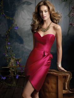 cherry satin knee length bridesmaid dress with strapless sweetheart bodice  $147
