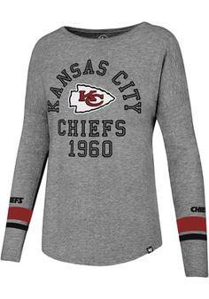 87ac877b793a93 '47 Kansas City Chiefs Womens Encore Heather Courtside Grey LS Tee Philadelphia  Eagles T Shirt