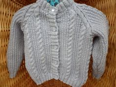 Girls' all over cabled cardigan to fit a 20 inch chest or a 1 year old - cabled panels - girls' cardigan by Marionsknittedtoys on Etsy