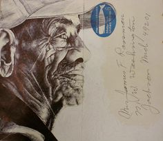 Mark Powell draws incredibly detailed, sumptuous portraits on the backs of vintage envelopes with nothing but a regular old Bic Biro pen Amazing Drawings, Detailed Drawings, Mark Powell, Advanced Higher Art, Architecture Artists, Envelope Art, High Art, Art Drawings Sketches, Mail Art