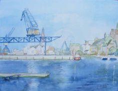 Haedgehalbinsel 2 (c) Aquarell von Frank Koebsch #Aquarell #Rostock #Stadthafen #maritim #Haedgehalbinsel