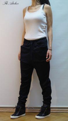 cda58d4867b Loose Casual Black Drop Crotch Harem Pants Yoga Pants Extravagant Black  Pants Unisex Pants Harem Pan