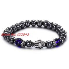 New Fashion Women's Men's Beaded Black Stone Stainless Steel Buddha Head Charm Bangles Bracelet, To Design Jewelry Xmas Gift