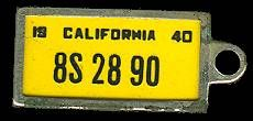 1940 California Tag (front)