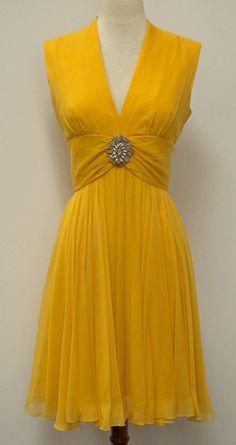 Vintage 50's - 60's canary yellow chiffon cocktail dress w/rhinestone brooch
