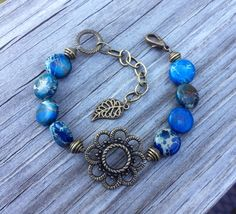 Imperial Jasper with Brass Flower Focal by McHughCreations on Etsy, $19.95