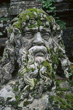 Stone carving of the Giant TIBER (ROME) at VILLA LANTE (Italian Renaissance Garden, 1566), VITERBO - TUSCANY, ITALY