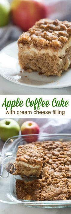 For breakfast, brunch, or even dessert, this Apple coffee cake with cream cheese filling is a winner!  A tender cinnamon apple crumb cake with a surprise layer of cream cheese filling, and a delicious streusel topping. (Breakfast Recipes Easy)