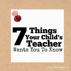 Sara J Creations: What Your Child's Teacher Wants You To Know.  7 Things to help make your child's school year a success!