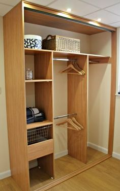 Sliding wardrobe interiors from our showroom in Inverness, Scotland LARGE TOP SHELF