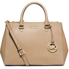 Michael Michael Kors Jet Set Travel Dressy Leather Tote ($328) ❤ liked on Polyvore featuring bags, handbags, tote bags, purses, michael kors, accessories, dark khaki, leather handbags, genuine leather tote and beige leather handbags