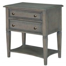 Hancock Park Wood Two Drawer Nightstand in Weathered Oak by Magnussen Home