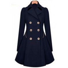Fashionable Turn-Down Collar Long Sleeve Double-Breasted Coat For WomenCoats | RoseGal.com