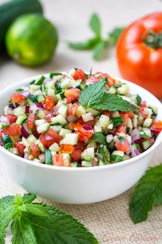 Persian Salad Shirazi is a chopped cucumber tomato salad with red onions and mint in a citrus dressing. Salad Dressing Recipes, Chicken Salad Recipes, Healthy Salad Recipes, Salad Chicken, Vegetarian Recipes, Cucumber Mint Salad, German Cucumber Salad, Persian Salad, Persian Cucumber