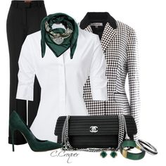 B&W+Green by ccroquer on Polyvore featuring polyvore fashion style Steffen Schraut Missoni Casadei Chanel Karen Kane Theo Fennell The CQ Store