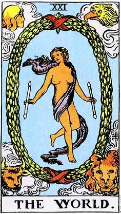 """The World from the Rider Waite Tarot -- General Meaning: What has traditionally been known as the World card points to the presiding intelligence, called """"Sophia,"""" or Wisdom, which upholds life on this and all worlds. A more precise title for this card might be """"the Soul of the World,"""" also applicable as a symbol of personal empowerment and freedom. In most Tarot decks it is a female figure that has become our standard World image. She originates in Hebrew, Gnostic and Alchemical lore, and…"""