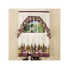 Chardonnay 3-pc. Swag Tier Kitchen Curtain Set, Red