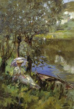 Under the Willows, Oil On Canvas by John Lavery (1856-1941, Ireland)