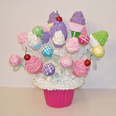 ONE Fake Cupcake Lollipop Cake Pop Standard Size Choose Colors,Birthday Party Decor, add to Arrangements, Centerpiece, Gifts Cupcake Centerpieces, Cupcake Arrangements, Birthday Centerpieces, Birthday Party Decorations, Birthday Parties, Candy Land Cupcakes, Fake Cupcakes, Lollipop Cake, First Birthday Cupcakes