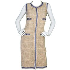 CHANEL 2009 Beige & Blue Tweed Sleeveless Dress sz38 | From a collection of rare vintage day dresses at https://www.1stdibs.com/fashion/clothing/day-dresses/