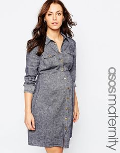 ASOS Maternity Linen Shirt Dress In Denim Look