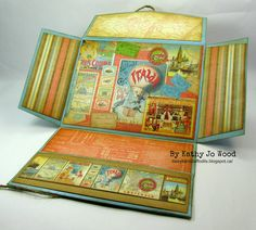 Vintage style gift card holder using Graphic 45 Come Away with Me papers and journal card. Ranger Ink distress inks and stickles also used. (fancy fold)