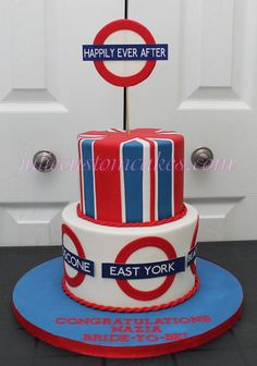 London themed cake - if we change the tube stops to ones we know it could be cool