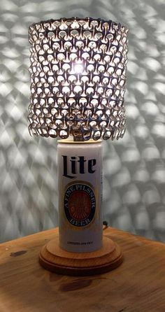 87e4bdc939a65 Vintage Miller Lite Beer Can Lamp with Pull Tab Lamp Shade