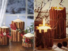 Ideias de Natal - decoração com velas enfeitadas com canela