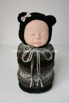 RTS... Swaddle Sack and Bonnet Newborn Photography by ModisteBee, $50.00