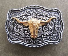 BULL HEAD LONG HORN SILVER AND GOLD WESTERN COWBOY RODEO BELT BUCKLE in Clothing, Shoes & Accessories, Men's Accessories, Belt Buckles | eBay