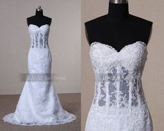 Custom See Through Corset Wedding Dress With Lace by ASAPBayBridal, $252.00