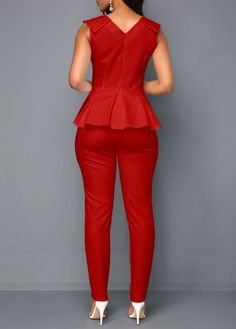 V Neck Sleeveless Peplum Waist Jumpsuit Latest African Fashion Dresses, African Print Dresses, African Dress, African Attire, African Wear, Fashion Pants, Fashion Outfits, Work Attire, Jumpsuits For Women