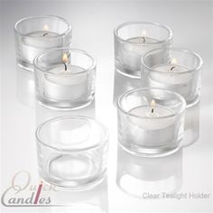 48 clear glass tealight candle holders and 48 tealights