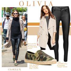 Olivia Palermo mit sommerlichem Mantel zu schwarzer Lederhose und Rollkragenpullover