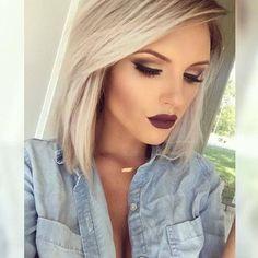 Image via We Heart It #beauty #blonde #contour #eyebrows #eyelashes #girls #hair #lipstick #makeup #pretty #red #shorthair