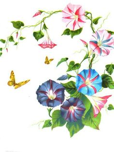 Morning glories and butterflies.