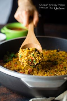 """Vegan """"Cheesy"""" Mexican Quinoa - This easy, one-pan meal has a spicy, cheesy taste - without the cheese! It's a healthy and gluten free, vegan-friendly weeknight meal that is under 300 calories!   Foodfaithfitness.com   @Food Faith Fitness"""
