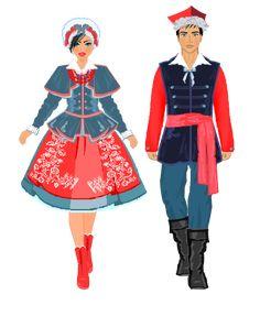 Stroje regionalne. Kujawski Folk Costume, Costumes, Polish Clothing, Polish Folk Art, Ethnic Outfits, Traditional Outfits, Snow White, Disney Princess, Disney Characters