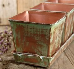 Verdigris Copper Herb Planters & Tray $11.00 @ save-on-crafts.com