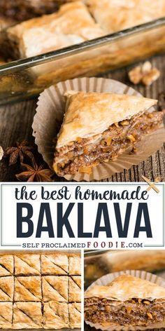 Köstliche Desserts, Delicious Desserts, Dessert Recipes, Yummy Food, Greek Desserts, Homemade Baklava Recipe, Kitchen Recipes, Cooking Recipes, Amish Recipes