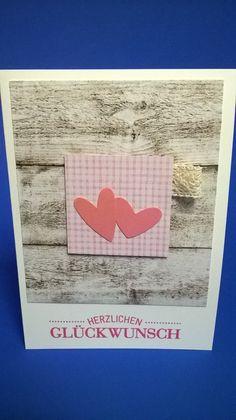 Hochzeitskarten - Herzlichen Glückwunsch - schöne Karte in Holzoptik - ein Designerstück von kreativesherzerl bei DaWanda