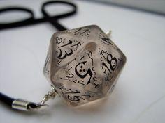 elf dice pendant elvish d20 dice rgp larp see through black inscriptions elvish runes transparent tolkien fantasy
