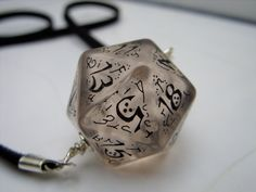 elf dice pendant elvish d20 dice rgp larp see through black inscriptions elvish runes transparent tolkien fantasy