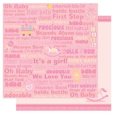 Best Creation Inc - Sweet Baby Collection - 12 x 12 Double Sided Glitter Paper - Baby Girl Words at Scrapbook.com $1.19