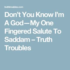 Don't You Know I'm A God—My One Fingered Salute To Saddam – Truth Troubles